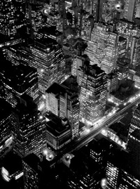 night view [new york at night, empire state building, 350 fifth ave, west side, 34th and 33rd streets] by berenice abbott